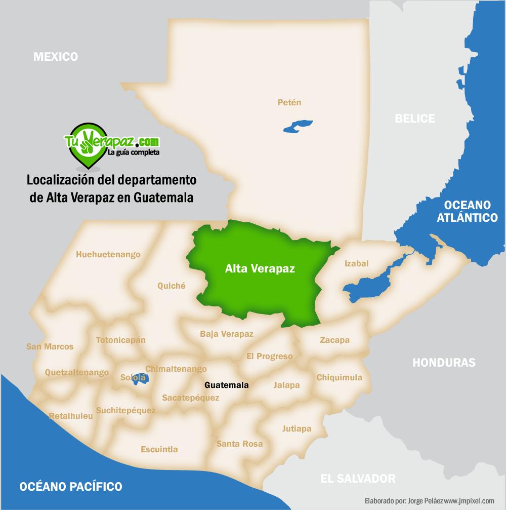 Mapa de Localización de Alta Verapaz en  Guatemala