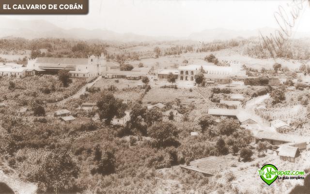 Panorámica desde el Calvario hacia el centro de la ciudad de Cobán, se desconoce al autor y la fecha. Edición: Jorge Mario Peláez - 2015